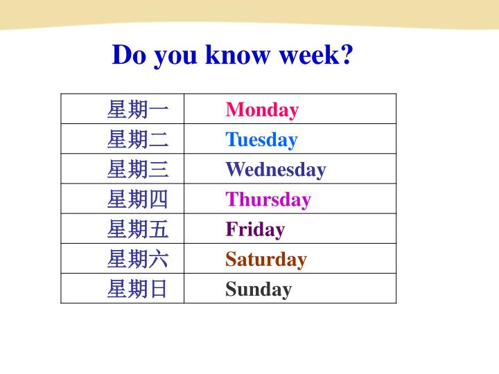 Do you know week?