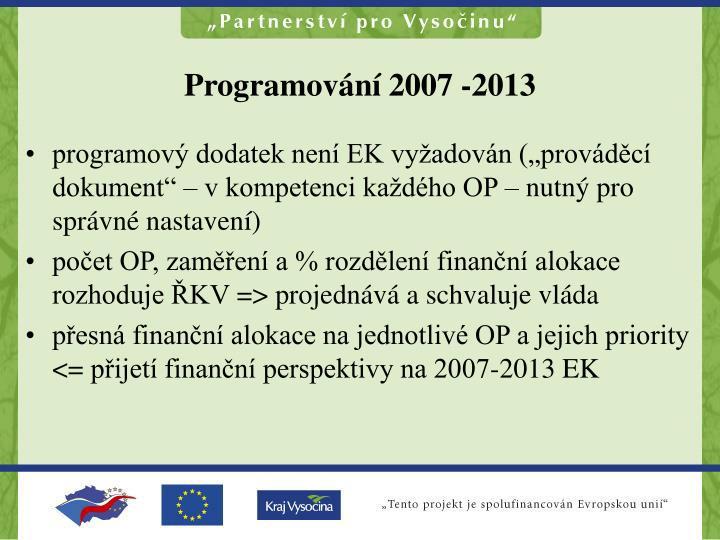 Programování 2007 -2013