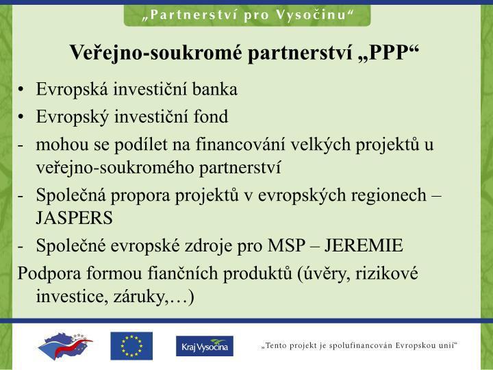 """Veřejno-soukromé partnerství """"PPP"""""""