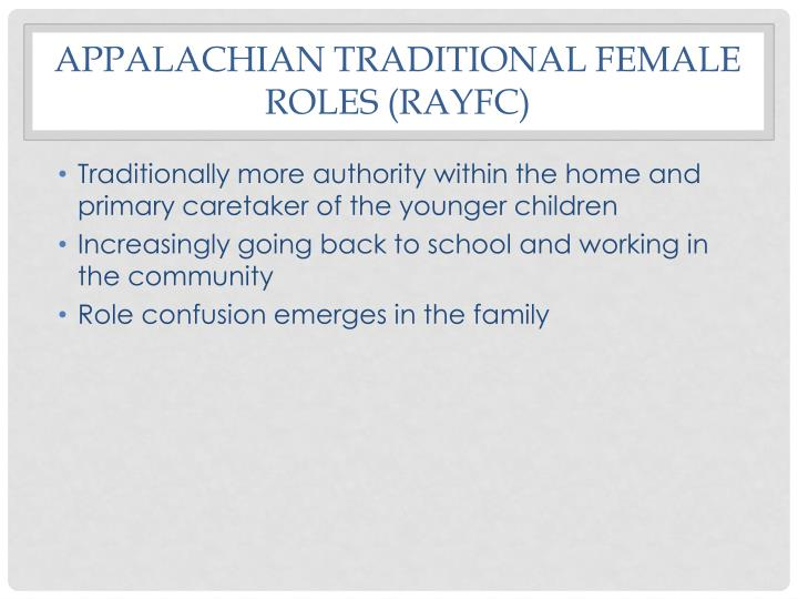 Appalachian traditional female roles (RAYFC)