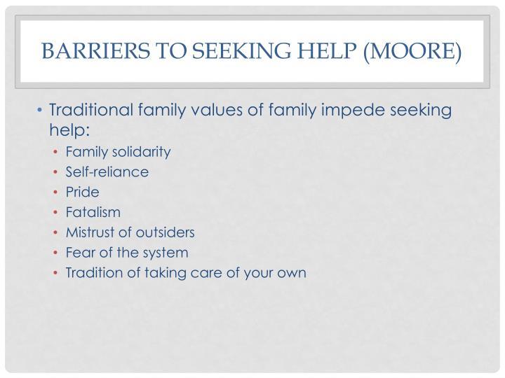 Barriers to seeking help (Moore)