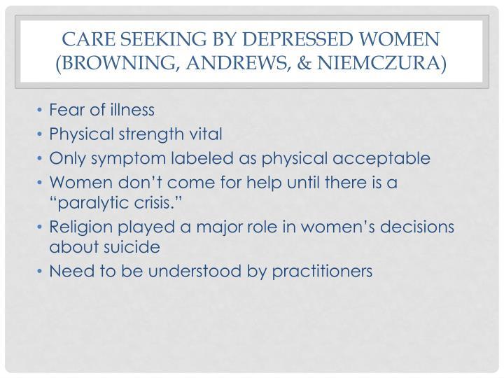 Care seeking by depressed women (browning,