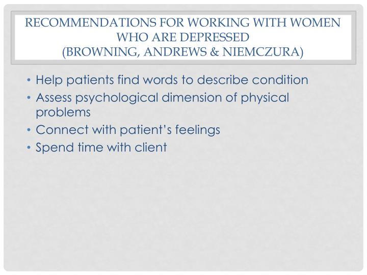 Recommendations for working with women who are depressed