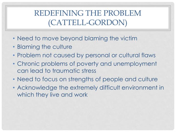 Redefining the problem