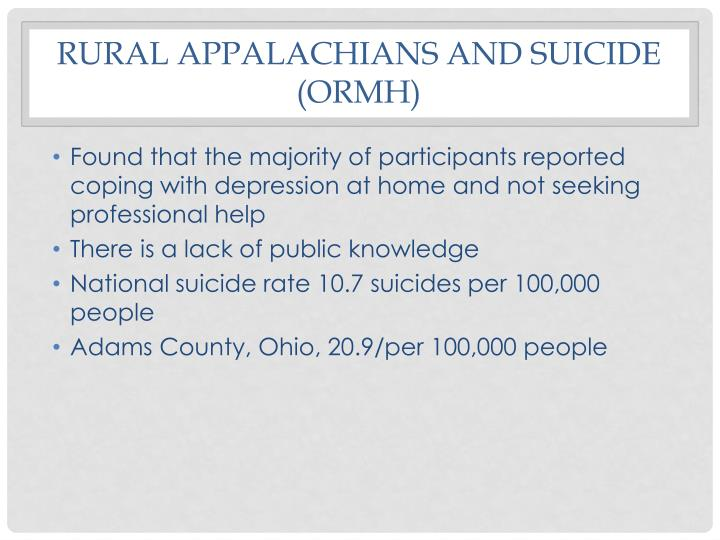 Rural Appalachians and suicide (ORMH)