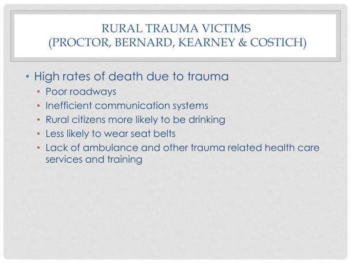 Rural Trauma Victims