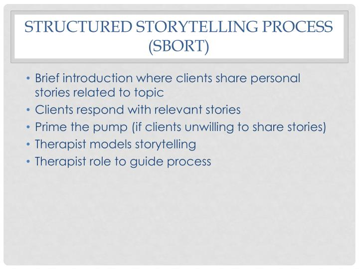 Structured storytelling process (SBORT)