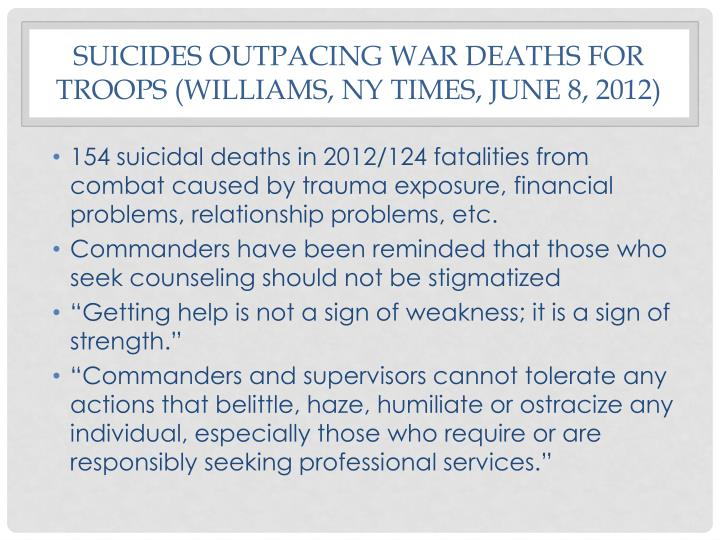 Suicides outpacing war deaths for troops (
