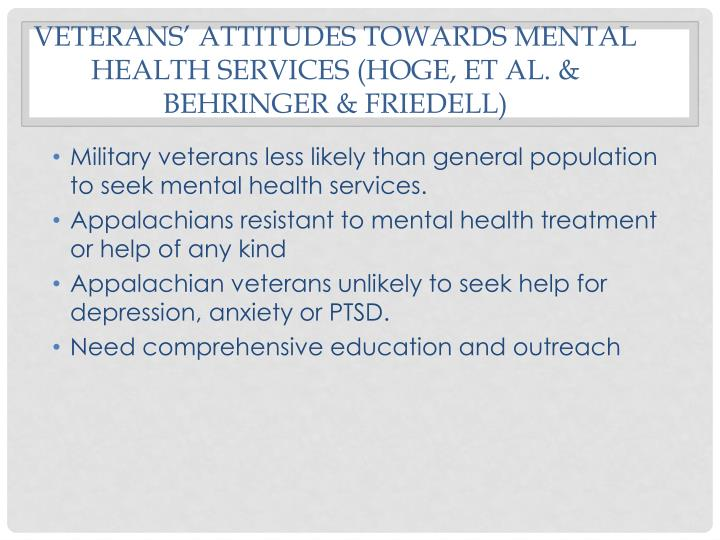 Veterans' attitudes towards mental health services (