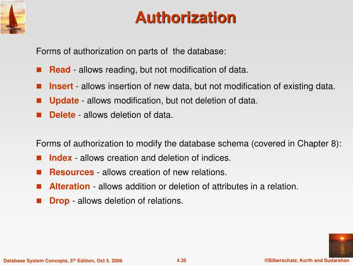 Forms of authorization on parts of  the database: