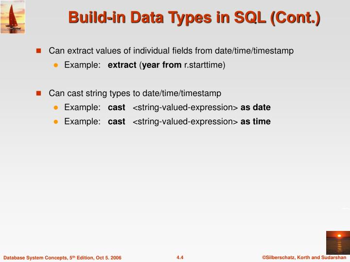 Build-in Data Types in SQL (Cont.)