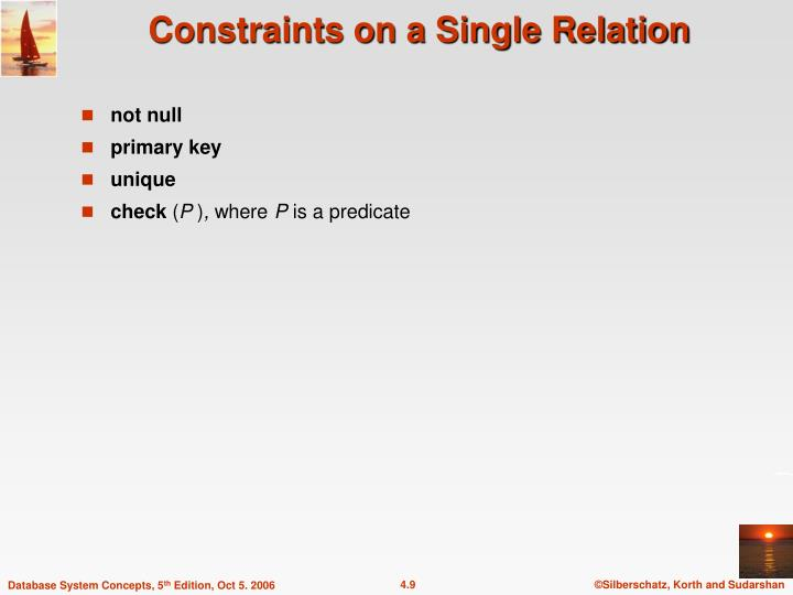 Constraints on a Single Relation