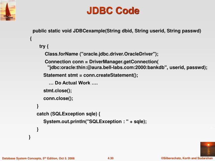 public static void JDBCexample(String dbid, String userid, String passwd)