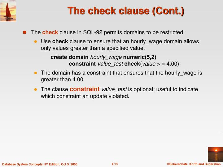 The check clause (Cont.)