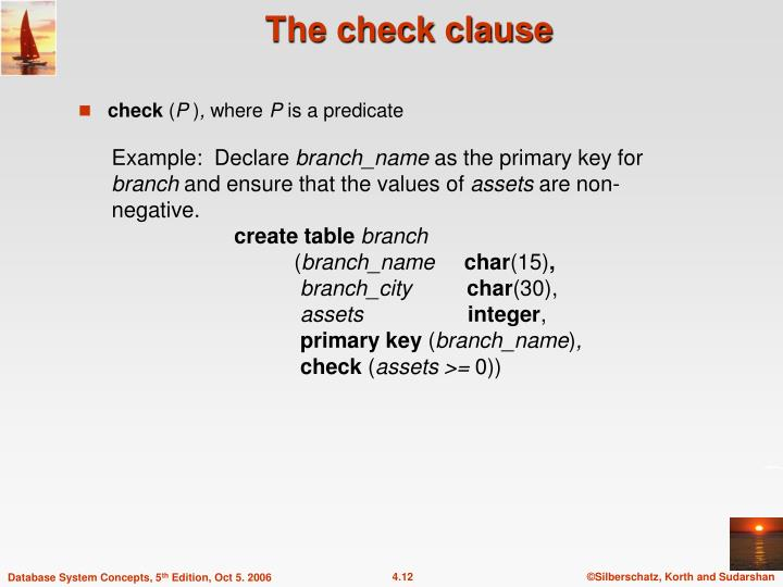 The check clause