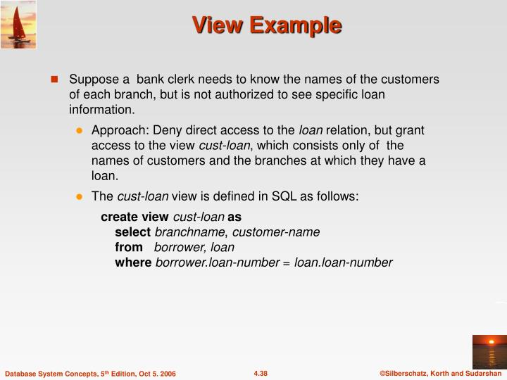 Suppose a  bank clerk needs to know the names of the customers of each branch, but is not authorized to see specific loan information.