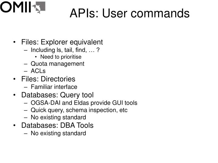 APIs: User commands