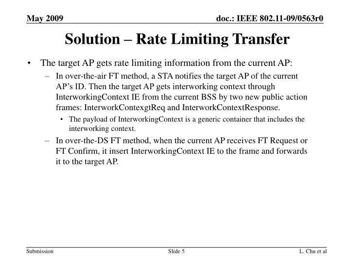 The target AP gets rate limiting information from the current AP: