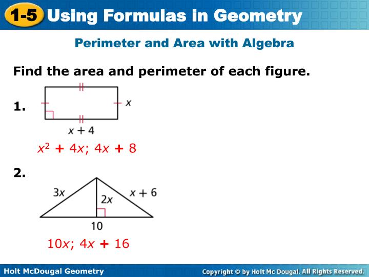 Perimeter and Area with Algebra