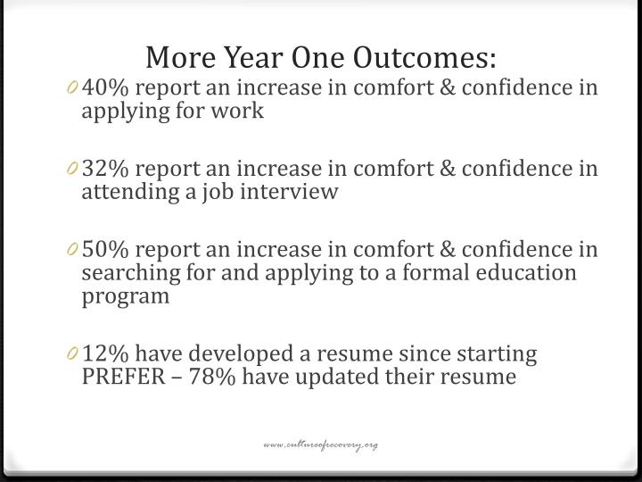 More Year One Outcomes: