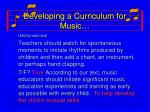 developing a curriculum for music