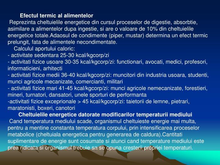 Efectul termic al alimentelor
