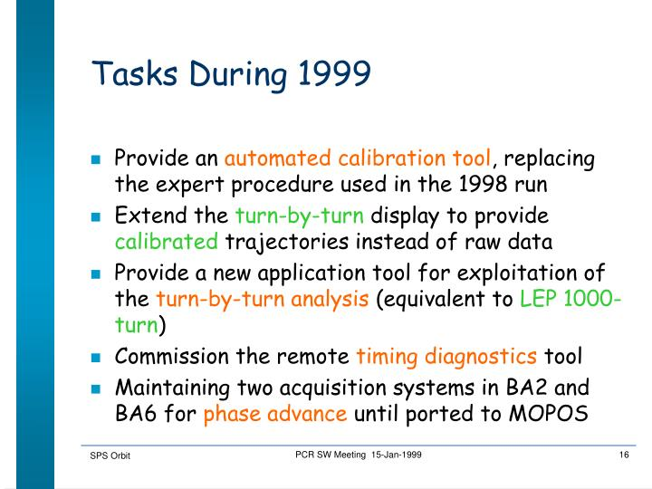 Tasks During 1999