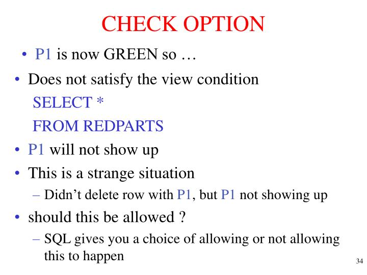 CHECK OPTION