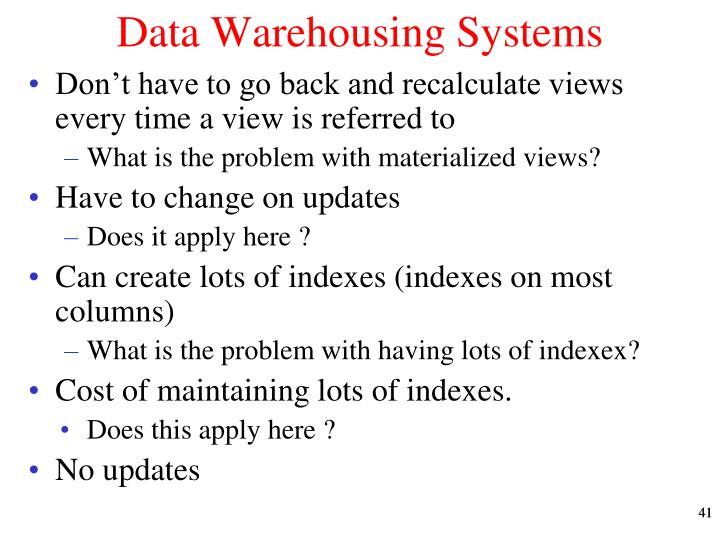 Data Warehousing Systems