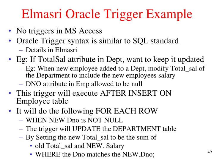 Elmasri Oracle Trigger Example