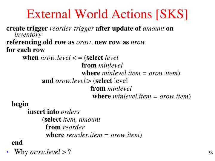 External World Actions [SKS]