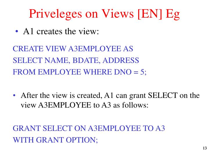 Priveleges on Views [EN] Eg