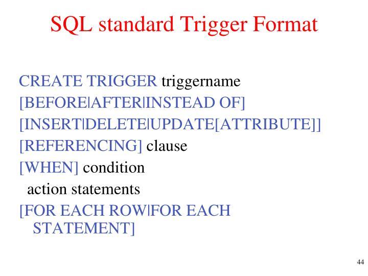 SQL standard Trigger Format