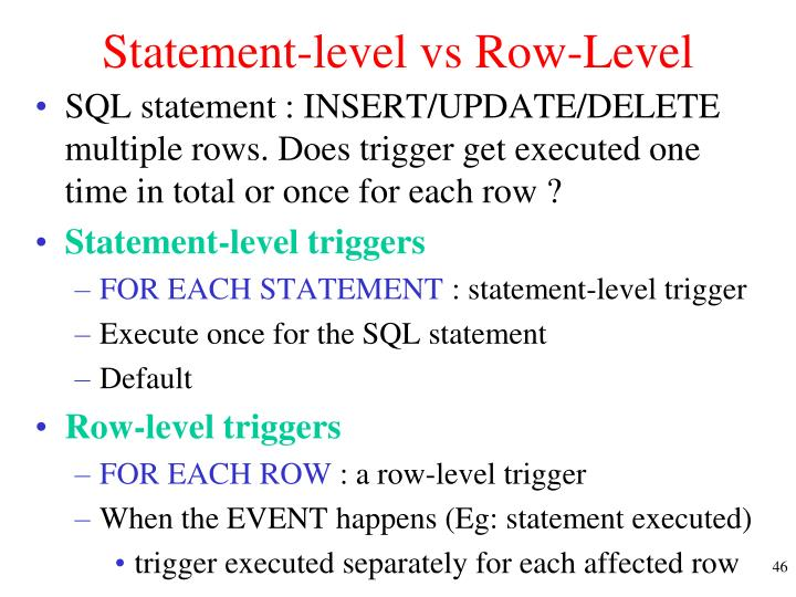 Statement-level vs Row-Level