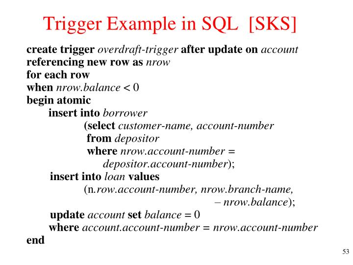 Trigger Example in SQL  [SKS]