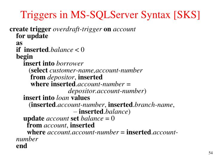 Triggers in MS-SQLServer Syntax [SKS]