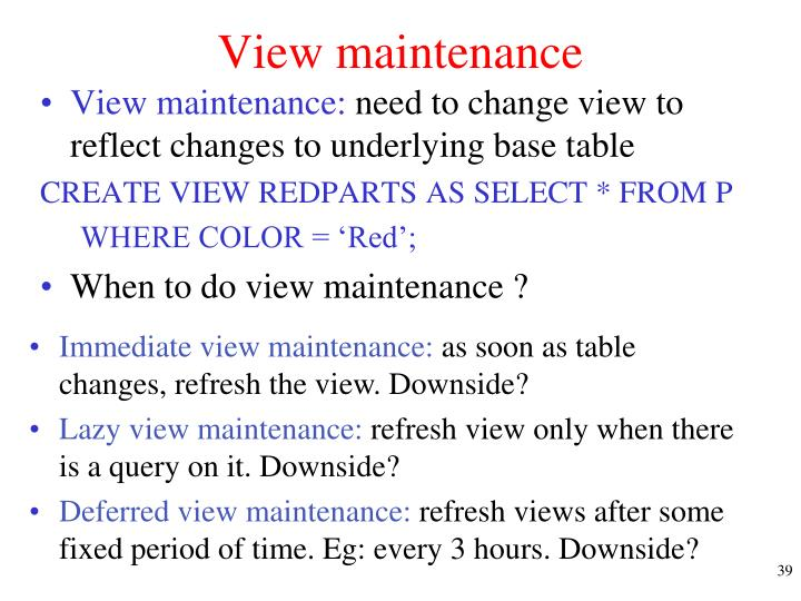 View maintenance