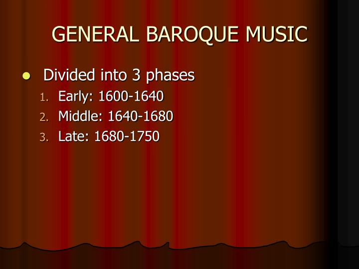 GENERAL BAROQUE MUSIC
