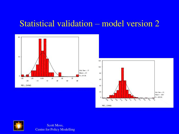 Statistical validation – model version 2