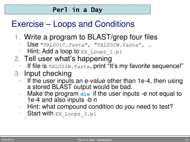 Exercise – Loops and Conditions