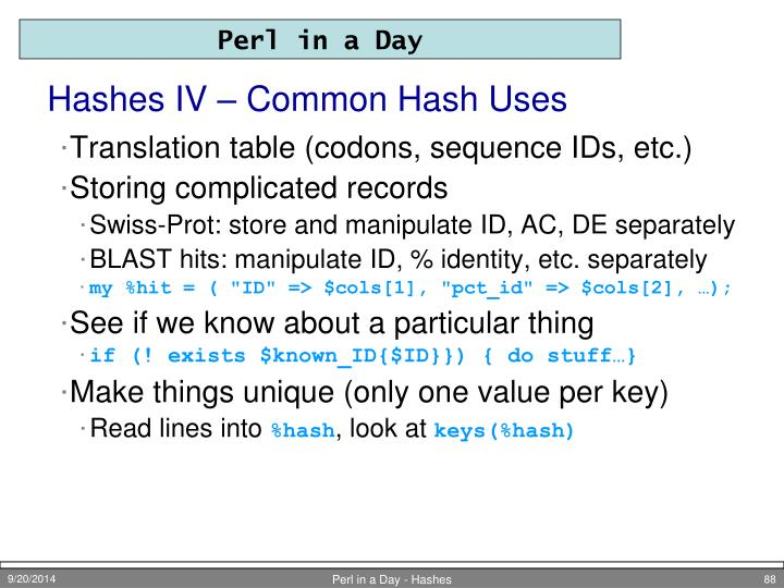 Hashes IV – Common Hash Uses