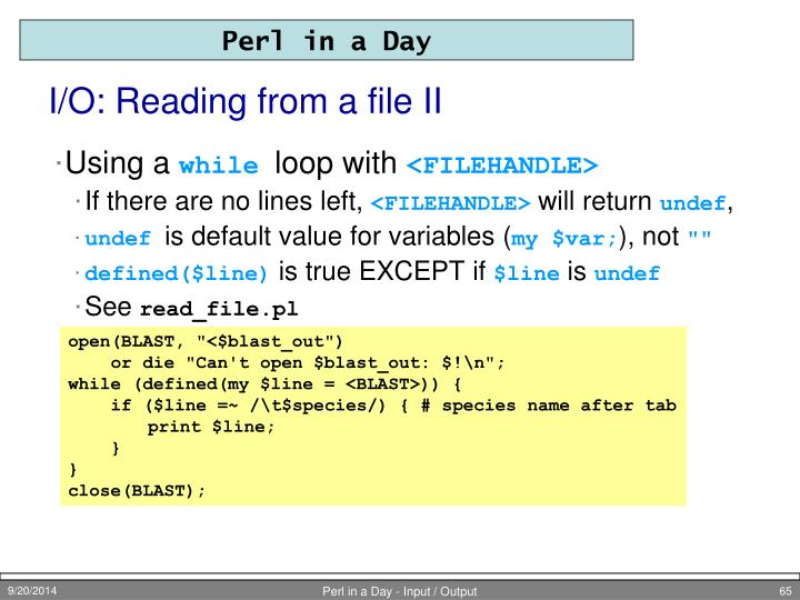 I/O: Reading from a file II
