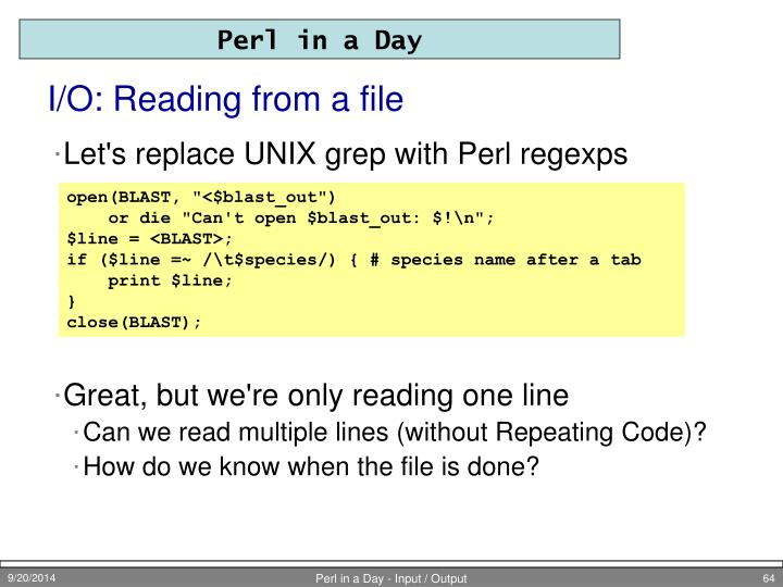 I/O: Reading from a file