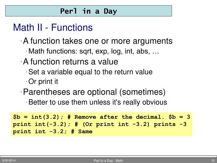 Math II - Functions
