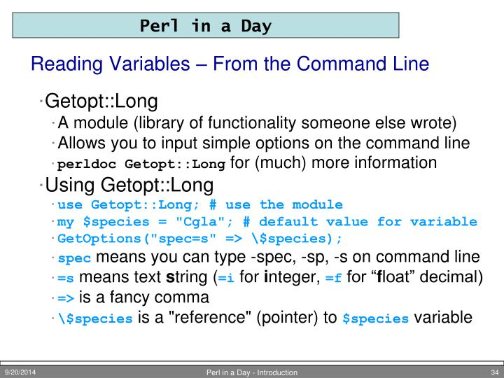Reading Variables – From the Command Line