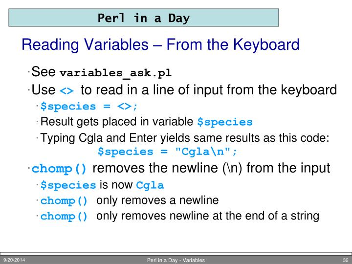 Reading Variables – From the Keyboard