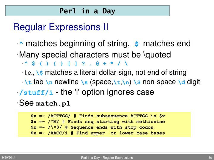 Regular Expressions II
