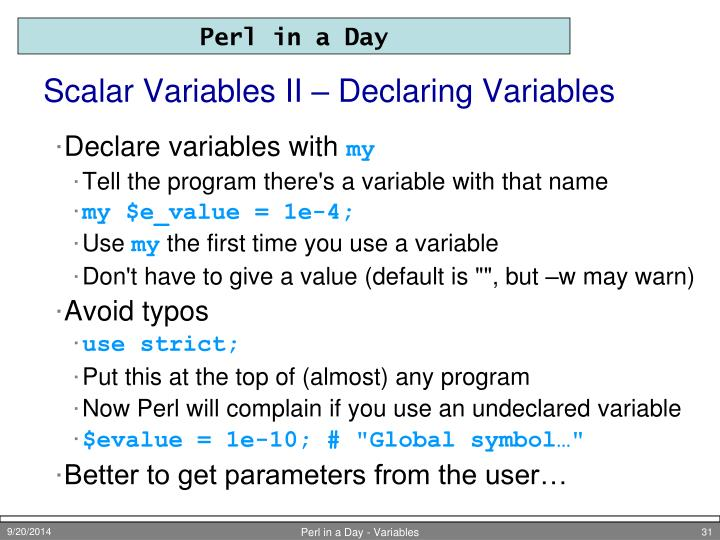 Scalar Variables II – Declaring Variables