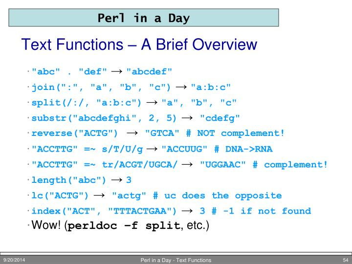Text Functions – A Brief Overview