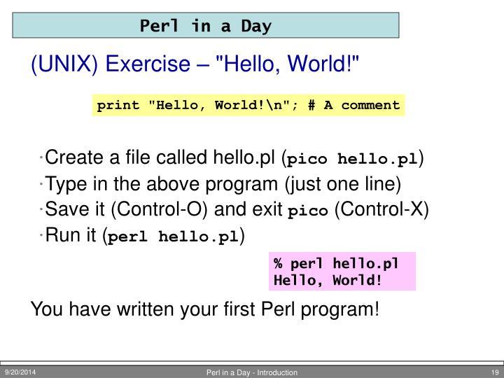 "(UNIX) Exercise – ""Hello, World!"""